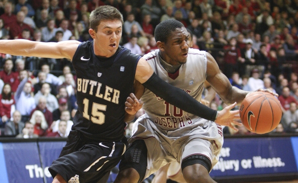 Butler's Rotnei Clarke (left) and Saint Joseph's' Langston Galloway battle for a ball during the Atlantic 10 opener last week. Photo courtesy MCT