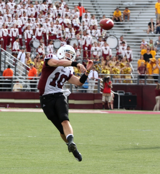 Kellen Pagel throws on the run during a game at Boston College in 2011. Photo by Jeff Bernstein/Collegian File Photo